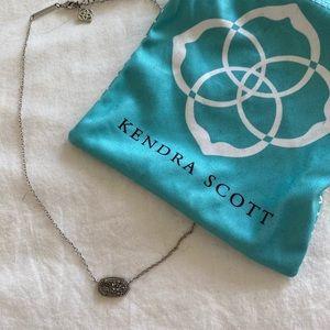 Kendra Scott Elisa Silver Necklace Platinum Druzy